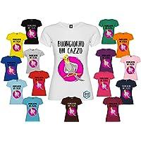 T-shirt personalizzata donna BUONGIORNO UN CAZZO disegno calopsite arrabbiata vari colori