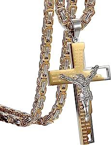 Collana da uomo, con ciondolo a forma di crocifisso, in stile vintage da motociclista, in acciaio inox, con crocifisso e maglia bizantina, 55cm, colore: nero e argento