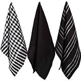 Penguin Home - 100% Cotton Tea Towel Set of 3 - Soft - Durable - Stylish Black Design with Multiple Patterns - Machine…