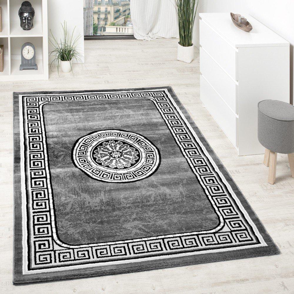 Teppich grau schwarz  Designer Teppich Mit Glitzergarn Klassische Ornamente Bordüre Grau ...