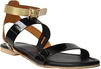 Foot Wagon Black Sandals |Women Slippers | Girls Sandals | Flats | Slippers |Sandal | Gold | Black| Flats | Slipper for Women