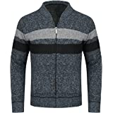 YOUTHUP Mens Fleece Lined Cardigan Stand Collar Sweater Knitted Jumper Thick Winter Knitwear Coat