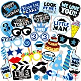 WOBBOX Third Birthday Photo Booth Party Props Blue for Baby Boy , 3rd Birthday Decorations for Boys , Kids Birthday Party Dec