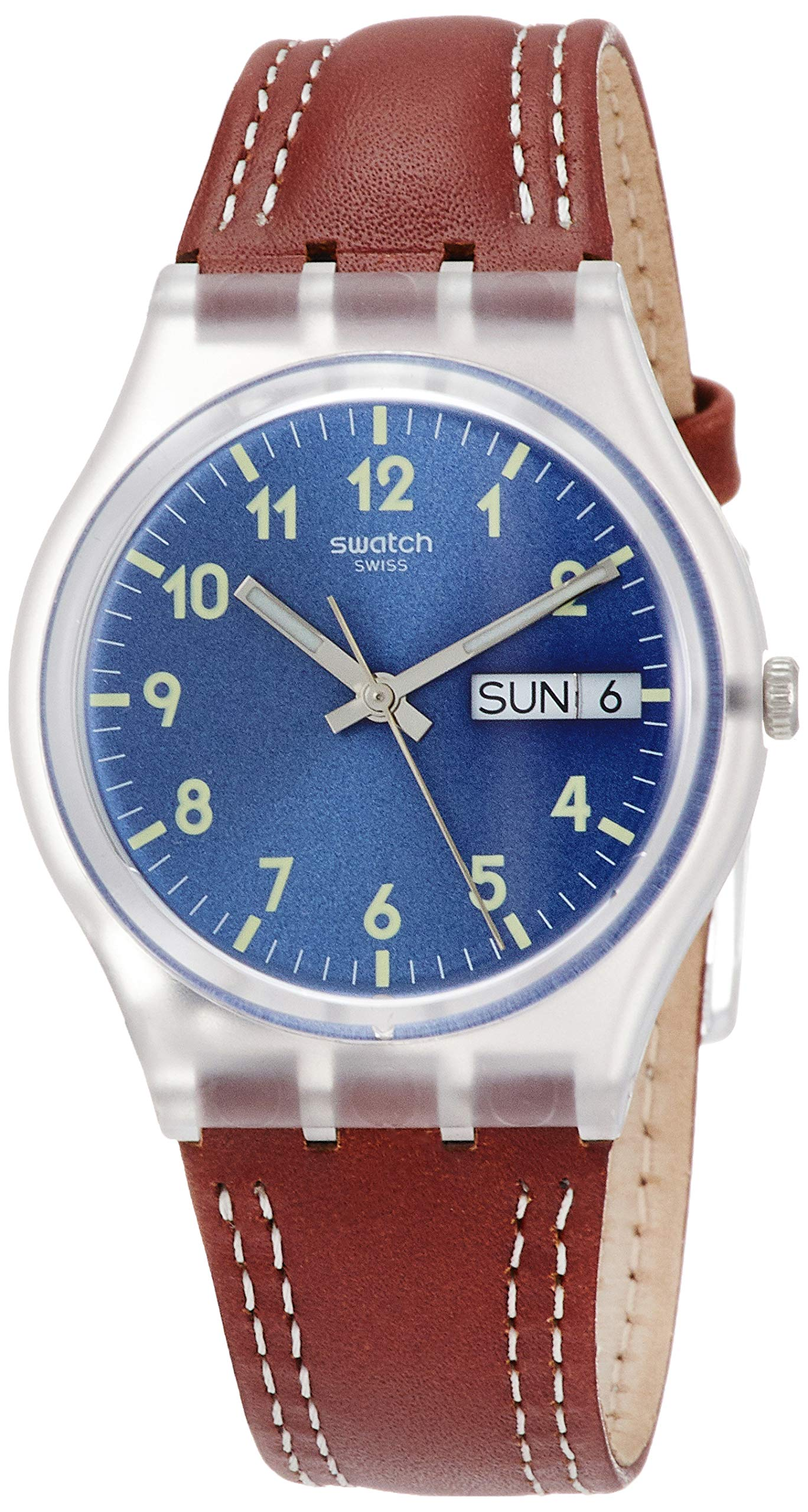Swatch Herren Analog Quarz Uhr mit Leder Armband GE709