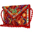 Craft Trade Womens Cotton Rajasthani Design Cross Body Traditional Embroidered Envelope Style Clutch Sling Bag Side Bags for
