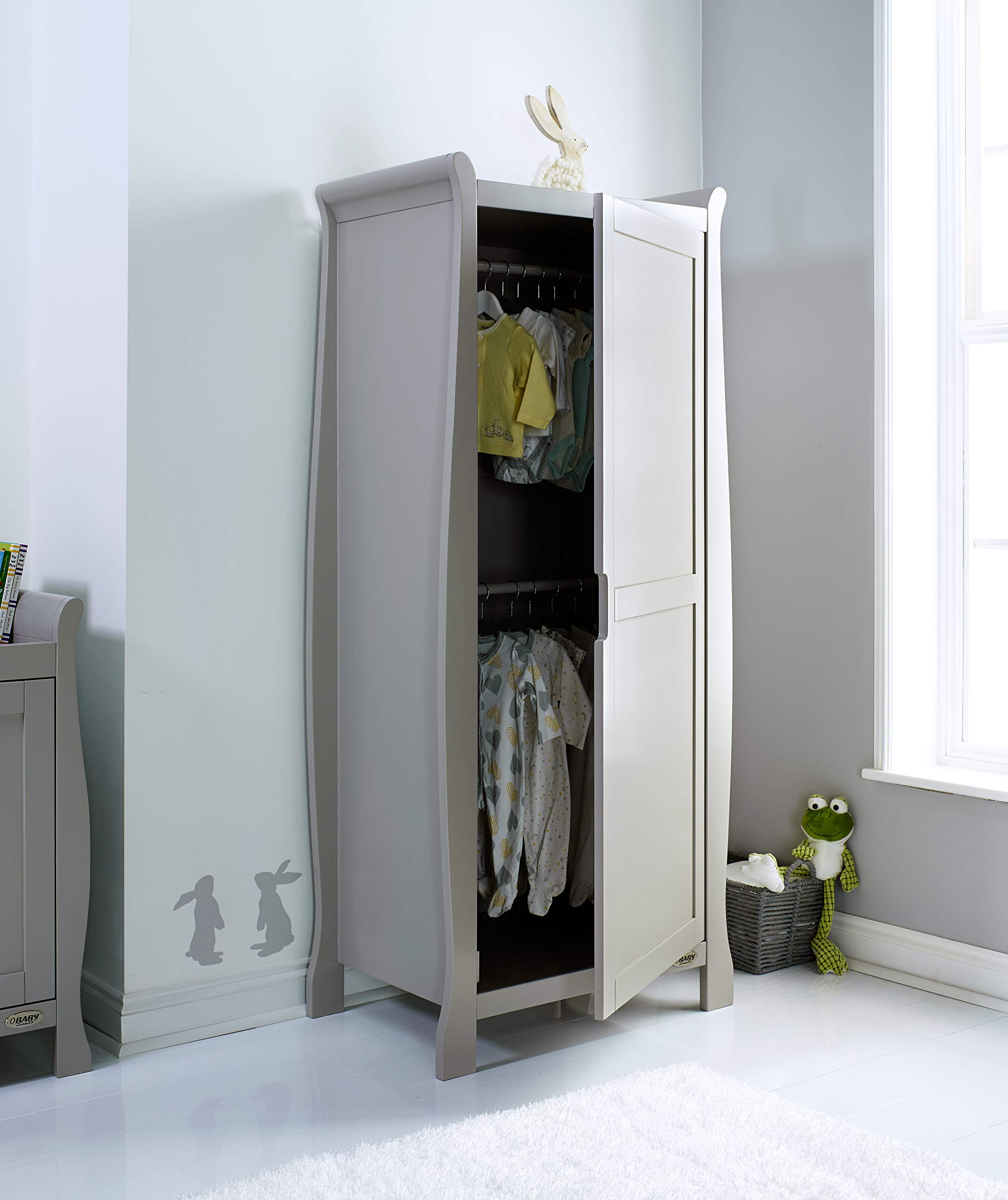 Obaby Stamford Sleigh Single Wardrobe - Taupe Grey Obaby One full height cupboard door Soft closing door 2 hanging rails ensure little ones clothes are kept neat and tidy 2
