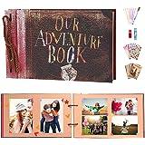 ZHENGJIANG Album Foto 29cmX19cm ,Album Fotografico 80 Pagine Bianche Vintage Our Adventure Book Miglior Regalo di Compleanno/