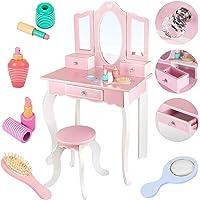 Kinderplay Großer Hölzerner Schminktisch für ein Mädchen - mit Spiegel, Schminktisch mit Schubladen, Rosa Schminktisch…