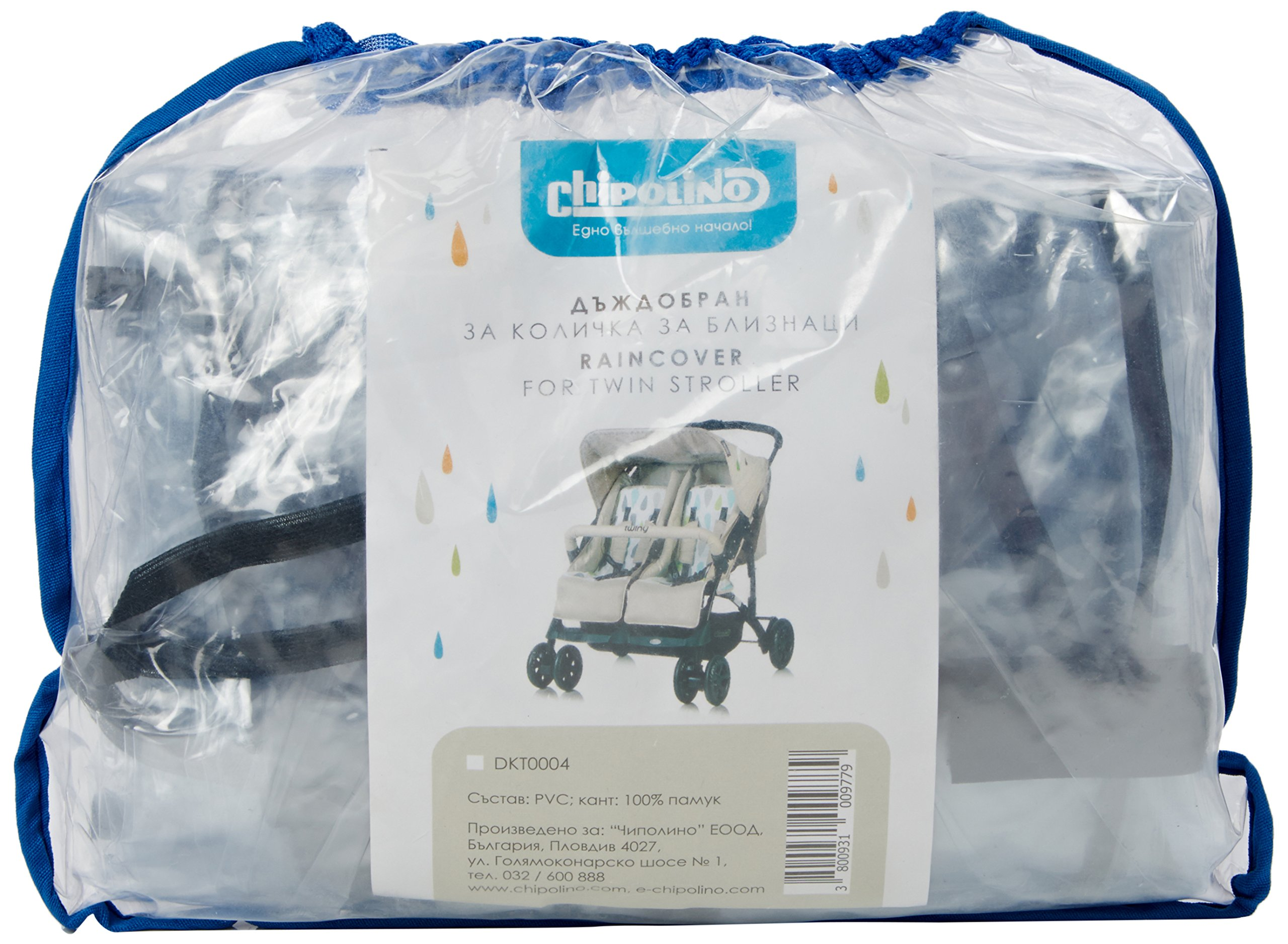 Chipolino Raincover Twin Stroller Chipolino Universal rain cover for all models Made from 100% safe materials Perfectly see through 1