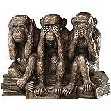Design Toscano Singes Maléfiques Sourds, Aveugles, Muets Statue d'Animal Figurine des Trois Vérités de l'Homme, 17.75 cm, pol