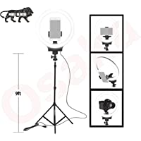 """Osaka 10"""" Inches Big LED Ring Light for Photo and Video with 9 Feet Stand Compatible with Camera and Smartphones for Tiktok YouTube"""