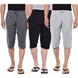 VIMAL JONNEY Cotton Multicolor Capris-3/4ths for Men(Pack of 3) (D13-AN_BL_ML_003-P)