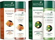 Biotique Bio Honey Gel Refreshing Foaming Face Cleanser, 120ml and Biotique Bio Cucumber Pore Tightening Toner, 120ml