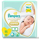 Pampers Premium Care Pants, New Born, Extra Small size baby diapers (NB,XS), 50 count, Softest ever Pampers