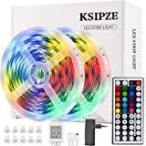 Ksipze Striscia Led 10M Rgb Led Colorati Luci Led Light Strip con 44 Tasti telecomando Luminosità Regolabile Nastri Led Retro