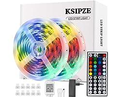 Ksipze Striscia Led 10M Rgb Led Colorati Luci Led Light Strip con 44 Tasti telecomando Luminosità Regolabile Nastri Led Retro