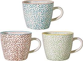 Bloomingville Tasses à café Laura, à pois colorés et inscription intérieure, 3 pièces