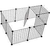 Pawhut Valla Metálica para Mascotas con 12 Paneles Parque Metálica para Animales Pequeños Desmontable Diseño DIY Negro 106x73
