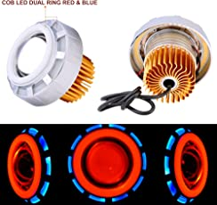 Autofy Universal Dual Ring COB LED Projector Headlight for All Bikes (Red and Blue)