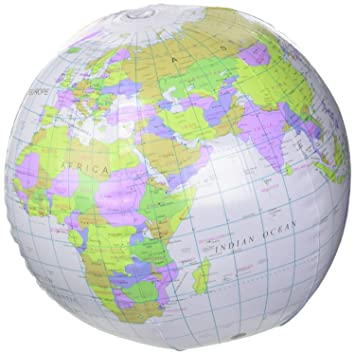 Inflatable globe blow up globe world map atlas ball earth map blow inflatable globe blow up globe world map atlas ball earth map blow up ball 40cm by henbrandt amazon toys games gumiabroncs Gallery