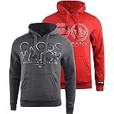 Crosshatch Mens Casual Hoodie (2 Pack) Classic Graphic Hooded Long Sleeve Sweatshirt