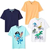 Marca Amazon - Spotted Zebra 4-Pack Short-Sleeve V-Neck T-Shirts Niños