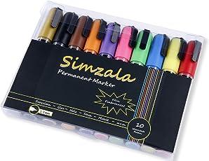 Simzala Permanentmarker 10er Set | spülmaschinenfeste Porzellanmalstifte, kraftvolle Farben, ohne einbrennen | perfekt zum Bemalen von Porzellan, Glas, Stein, Holz u.v.m. | für Kinder ab 3 Jahren