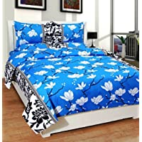 Homefab India 140 TC Polycotton Floral Printed Double Bed Sheet with 2 Pillow Cover - Blue