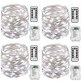 Guirlande lumineuse à Pile,[Lot de 4] 10m 100 LEDs Fonction Minuterie avec Télécommande IP65 Etanche,fil d'argent avec 8 mode