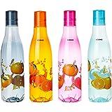 Amazon Brand - Solimo Plastic Fridge Water Bottle Set (4 pieces, Multicolour, Citrus Pattern)