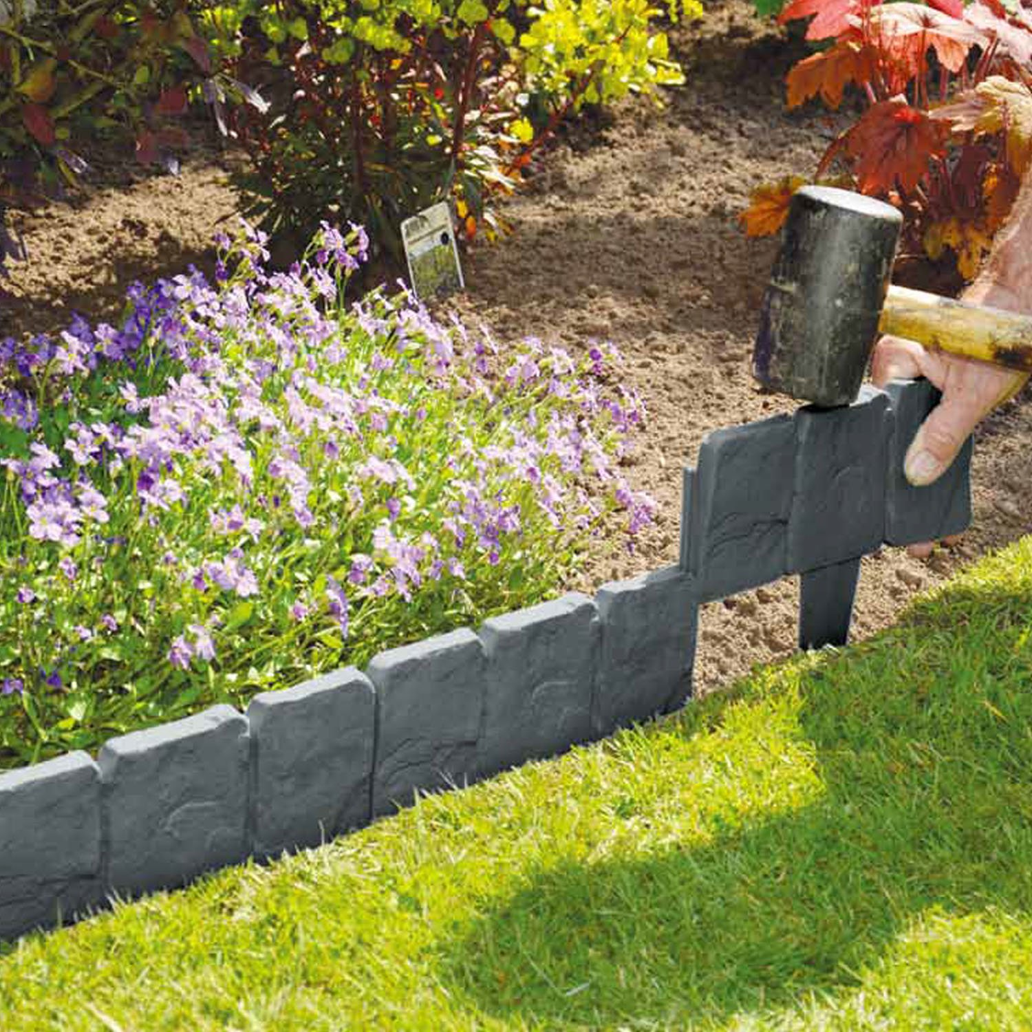 10 Pack Dark Grey Cobbled Stone Effect Garden Lawn Edging Plant Border    Simply Hammer In