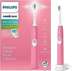 Philips Sonicare ProtectiveClean 4300 elektrische Zahnbürste HX6805/28 – Schallzahnbürste mit Clean-Putzprogramm, 2 Intensitäten, Andruckkontrolle & Timer – Pink