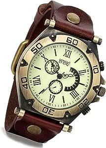 Lancardo orologio da polso con cinturino in pelle marrone con quadrante numeri romani per uomo donna, movimento di quarzo, retro, classico