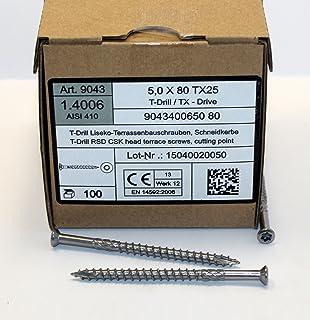 AISI 410 Terrassenbauschrauben Edelstahl mit Cut-Spitze und Schneidkerbe 500 St/ück Terrassenschrauben 5x80 Edelstahl C1 TX25