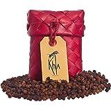 KHLA - Poivre Rouge de Kampot Premium IGP - 50g - Poivre en Grains en Sachet - Emballage Traditionnel en Feuilles de Palme
