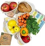 EcoYou Wiederverwendbare Obst- & Gemüsebeutel aus Bio Baumwolle 5er Set Inkl. Brotbeutel & SAISONKALENDER - Nachhaltige Einkaufsnetze Obst- & Gemüsenetze mit Gewichtsangabe