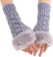 FINEJO Fashion Women Faux Fur Long Wrist Fingerless Winter Gloves Soft Warm Mitten