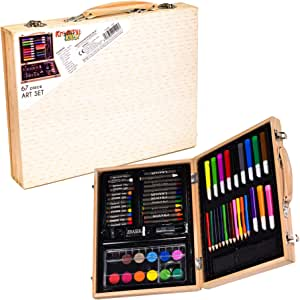 KandyToys Traditional Wooden Artists Set - 67 Piece Fold Out Art Box with Pens; Pencils; Crayons & Paints
