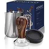 KYONANO Tamper 51 mm, kaffe tamper av högkvalitativt rostfritt stål och chacate Preto-trähandtag, espresso tamper inklusive t
