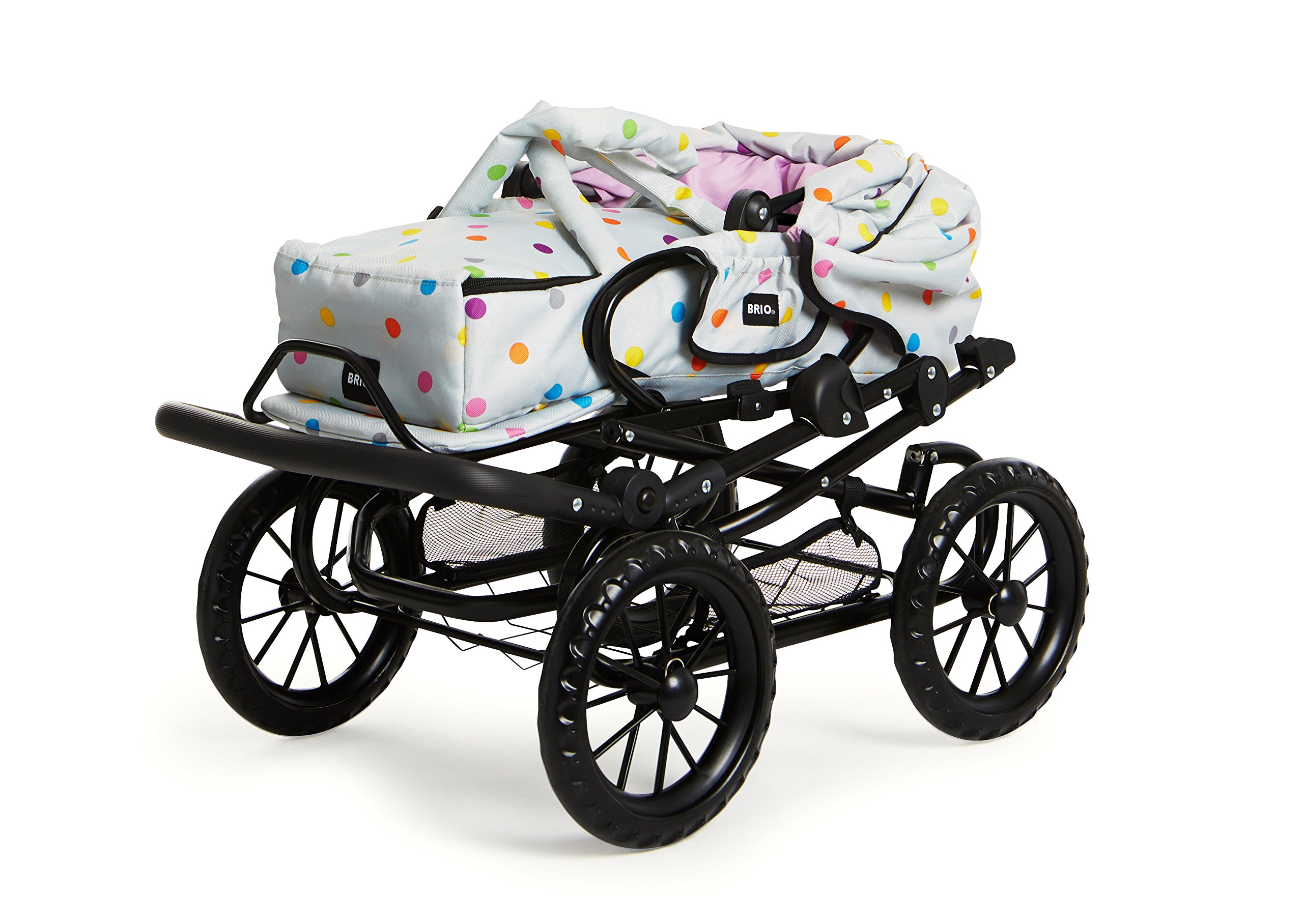 POPPENWAGEN COMBI GRIJS MET ST Ravensburger Combi Doll's Pram in a new design with multi-coloured dots With removable carry bag With adjustable push handle from 44to 79cm 3