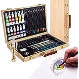 Artina Set da Disegno con manichino in Valigetta - Leonardo 45 unità: pennelli, acrilici, matite, manichino, ECC. - per pittu