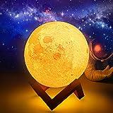 Lampe de Lune, Fuyionsko Impression 3D 16 Couleurs avec Support, Contrôle Tactile et Veilleuse Portable USB Rechargeable pour