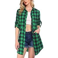 UNibelle Damen Hemd Kariertes Langarmshirt Karohemd Sommer Bluse mit einstellbare Ärmeln Freizeithemd S-XXL
