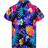 King Kameha Funky Hawaiian Shirt Men Shortsleeve Frontpocket Hawaiian-Print Leaves Flowers Pineapple