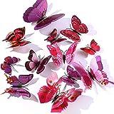 WandSticker4U® - 24 hoogwaardige 3D-vlinders lila en roze met dubbele vleugel & magneet, vlinders decoratie voor de muur, koe