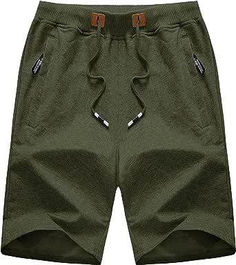 TACVASEN Men's Shorts Summer Sports Shorts Casual Cotton Joggers Shorts with Zip Pockets