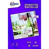 AVERY - Pochette de 40 étiquettes autocollantes pour bouteille, Personnalisables et imprimables, Format 120 x 90 mm, Impressi