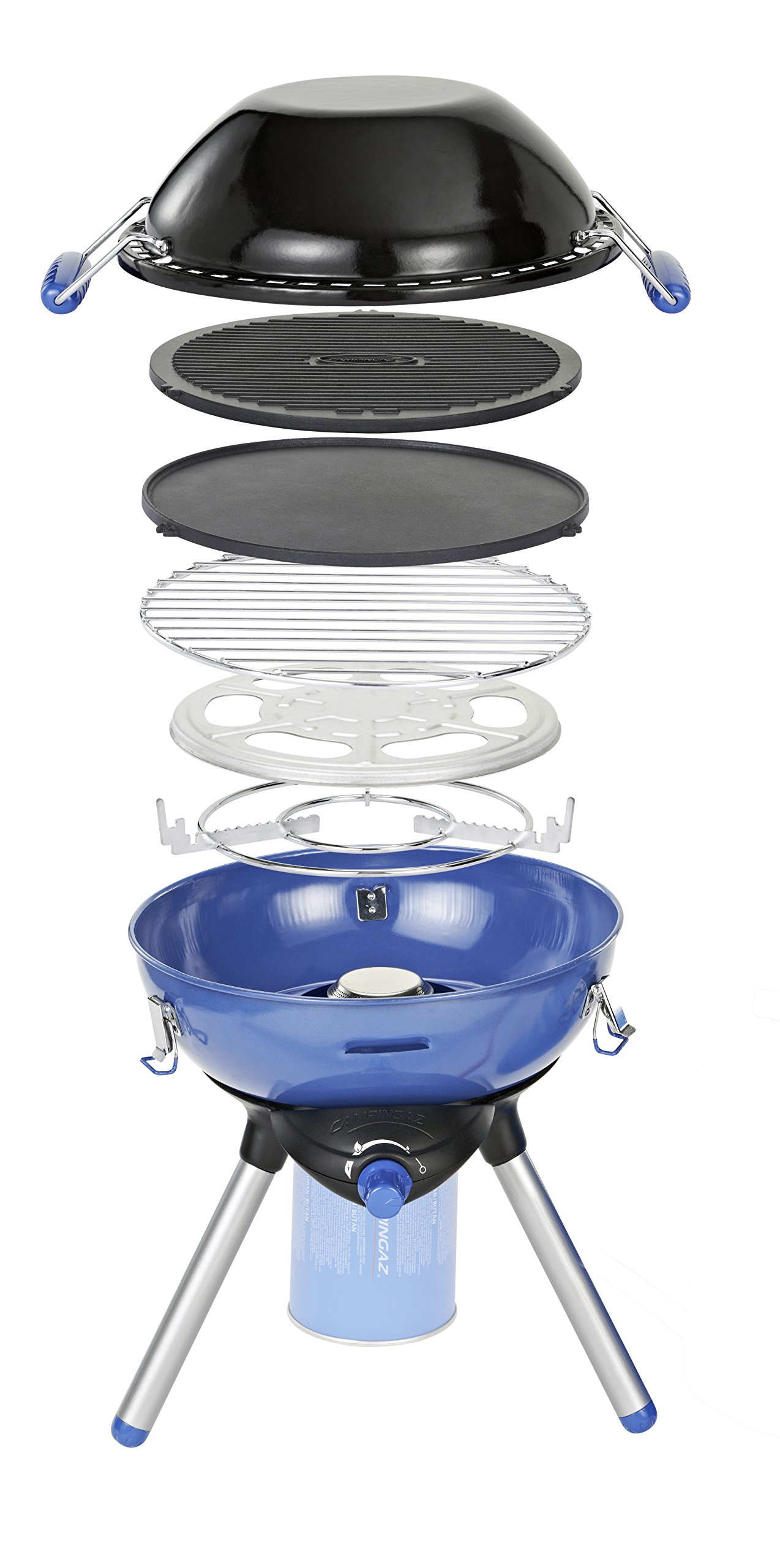 Campingaz Party Grill 400 Camping Stove, All in One portable Camping BBQ, Outdoor Grill & Stove, Small Gas Barbecue 2.000 Watt, Runs on CV 470 Plus Gas Cartridge 1