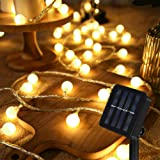 Guirnalda Luces Exterior Solar, 60 LED 8M Cadena Solar de Luces, IP65 Impermeable Cadena de Luces Decoracion, 8 Modos Guirnal