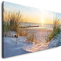 Paul Sinus Art Sonnenuntergang an der Ostsee 120x 60cm Panorama Leinwand Bild XXL Format Wandbilder Wohnzimmer Wohnung…